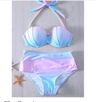 swimwear swimwear two piece pastel swimwear high waisted bikini mermaid bikini shell blue bikini pastel lilac blue pearl fashion summer beach cute girly high waisted gamiss pink purple watercolor