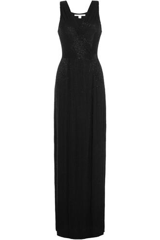 gown embellished silk black dress