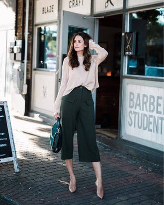 sweater beige sweater pants green pants shoes beige shoes handbag green handbag bag