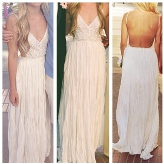 dress white dress prom prom dress open dress open back open backed dress long dress maxi dress boho crochet maxi dress cream v neck dress prom 2k14 backless dress spaghetti strap