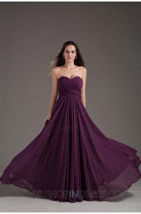 Line sweetheart floor length chiffon grape prom dress with cascading