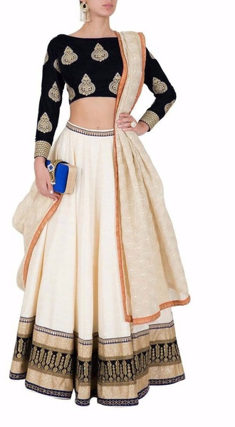 dress black lengha cream indian punjabi suit punjabidress
