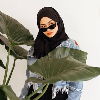 scarf black scarf jacket blue jacket