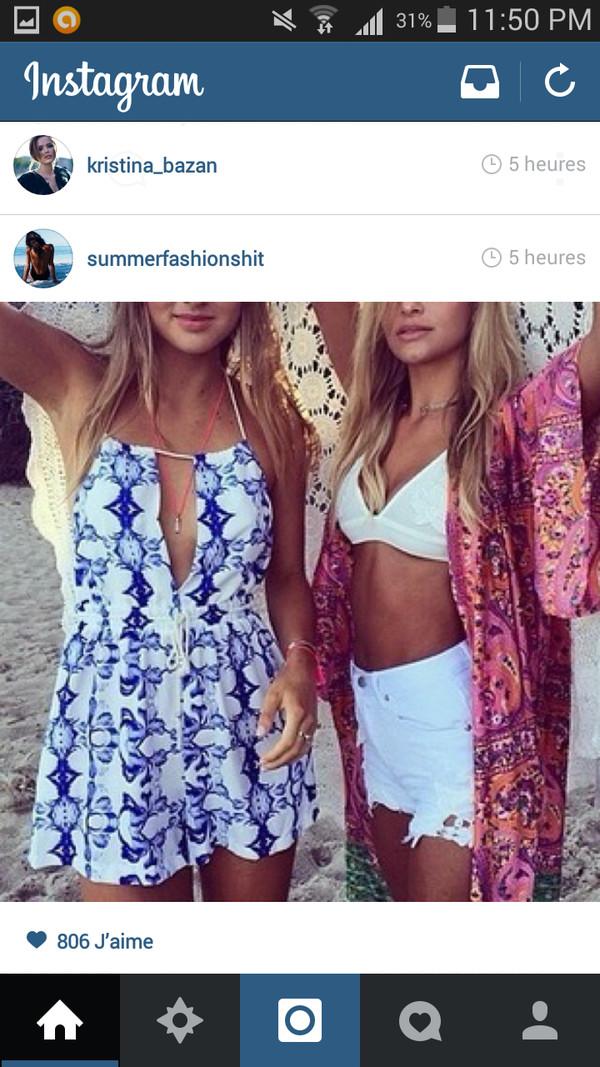 jacket dress summer print print girl crop tops boho kimono colorful romper underwear