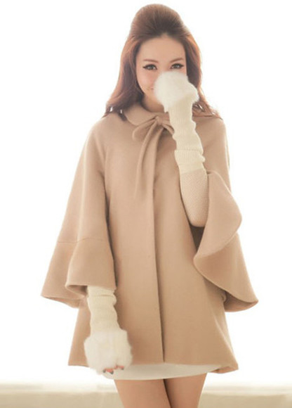 coat cape fashion clothes cloak bow top hem