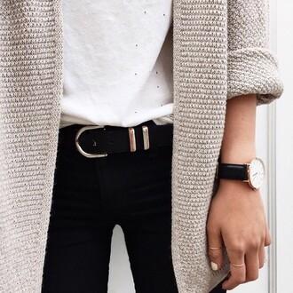 jeans black jeans belt cardigan