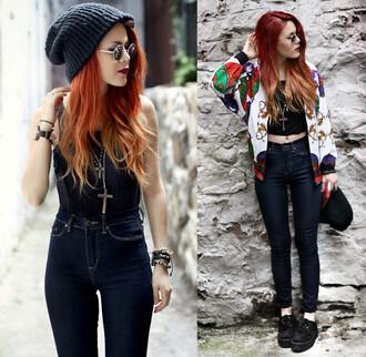 jeans pants jeans pants jacket blue red hair ombre le happy