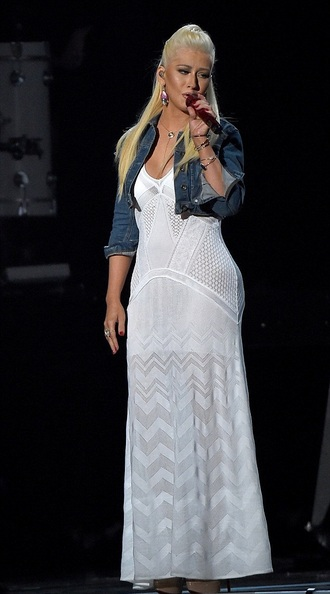 dress maxi dress white christina aguilera