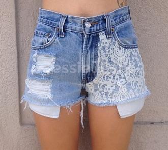 shorts blue jeans lace shorts