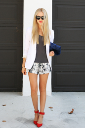 cheyenne meets chanel,jacket,shirt,shorts,bag,shoes,sunglasses,jewels,pants,white,pattern,grey,blonde hair,chic,navy,black,blue red,blue,red,classy,floral,girl shirts,black and white