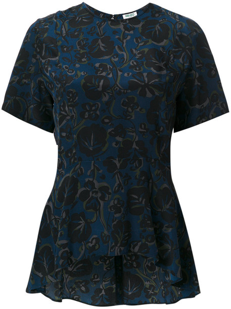 Kenzo blouse women floral blue silk top