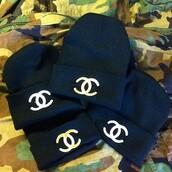 hat,black,white,chanel,beanie