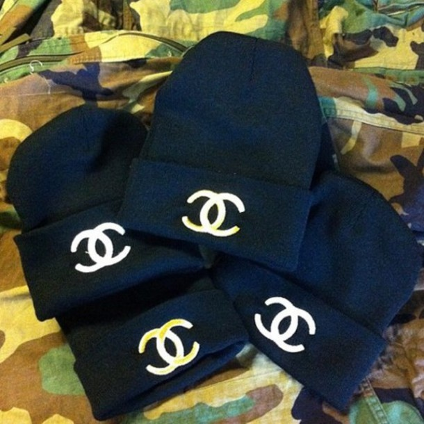 hat black white chanel beanie 20310fcdc43