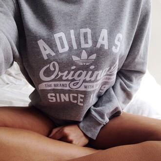 sweater adidas grey white