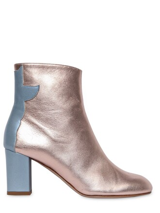 cropped metallic boots leather blue pink sky blue shoes