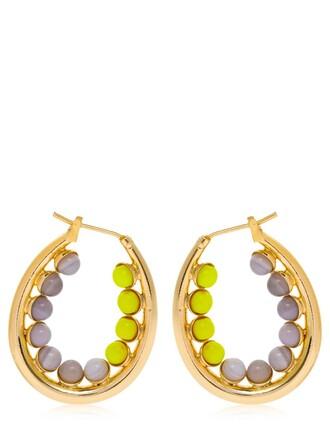 earrings hoop earrings yellow grey jewels