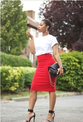 skirt,red tight skirt,shoes,top,bag