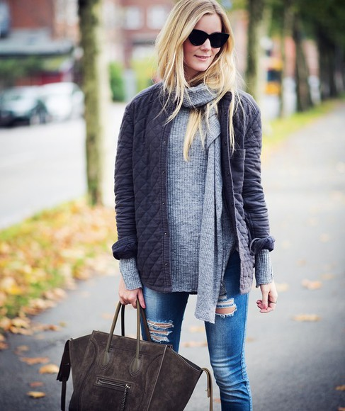 jacket blogger passions for fashion jeans bag fall outfits ripped jeans
