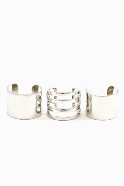 Line brushed cuff ring set