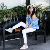 fit fab fun mom,blogger,top,jeans,shoes,hat,bag,sunglasses,jewels,blue off shoulder top,blouse,blue blouse,off the shoulder,off the shoulder top,white jeans,brown bag,chloe,chloe bag,chloe drew bag,felt hat,white hat,necklace,mirrored sunglasses,aviator sunglasses,cold shoulder