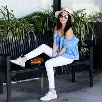 fit fab fun mom blogger top jeans shoes hat bag sunglasses jewels blue off shoulder top blouse blue blouse off the shoulder off the shoulder top white jeans brown bag chloe chloe bag chloe drew bag felt hat white hat necklace mirrored sunglasses aviator sunglasses cold shoulder