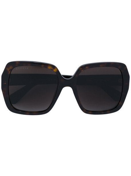 Gucci Eyewear - square frame sunglasses - women - Acetate - 54, Brown, Acetate