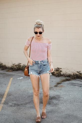 love lenore blogger shorts shoes sunglasses jewels bag shoulder bag summer outfits denim shorts slide shoes striped top top