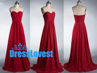 red bridesmaid dress chiffon bridesmaid dresses simple long dress long prom dress wedding party dress dress