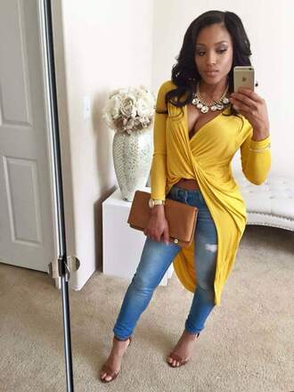 top blouse yellow top dress shirt long sleeves black