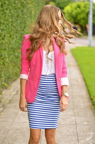 pink jacket skirt striped skirt