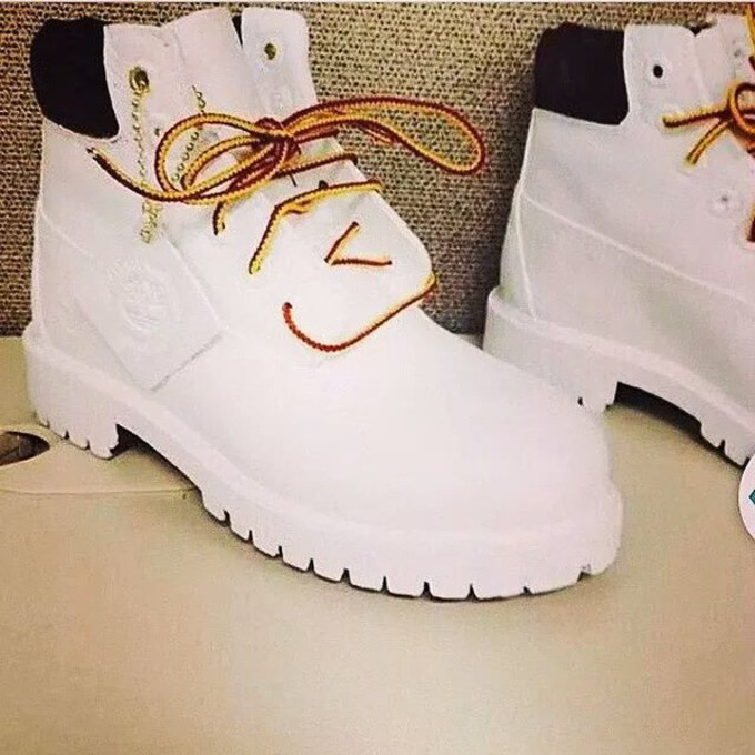 all white timberland boots