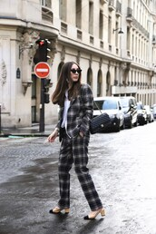 jacket,grey pants,tumblr,blazer,plaid blazer,check blazer,grey blazer,pants,shoes,matching set,power suit,two piece pantsuits,plaid pants