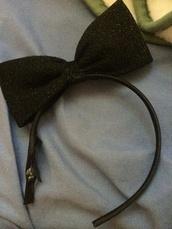 hat,black,jewels,headband,glitter,black headband,bow,hair bow