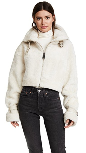 M I S B H V jacket shearling jacket white off-white