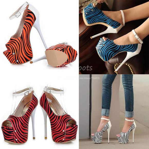 shoes zebra print tiger print open toes ankle strap high heels