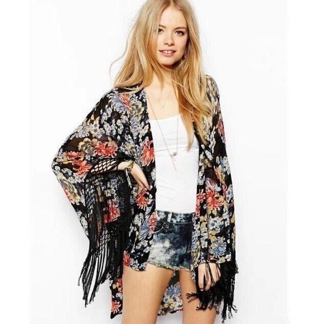 Floral and fringe kimono