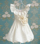 dress,bqueen,white,flowers,rose,party,sweet,cute,lovely,girl,fashion,chic,jacquard,bow,cut,day dress,sleeveless