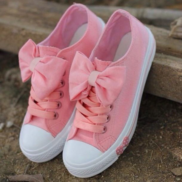 338767f94e83f9 shoes bows pink sneakers tennis shoes fashion girly leggings converse pink  worm wet seal