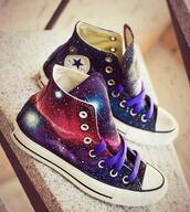 shoes,converse,purple,galaxy print,chuck taylor all stars,hipster,galaxy converse,high top converse,infinity.,bag,sneakers,high top sneakers,galaxy shoes,dress,converese,hightop