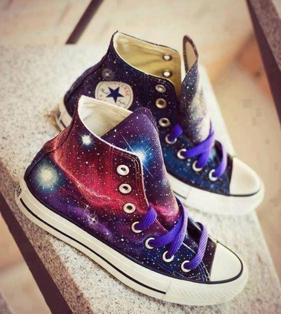 Shoes Galaxy Print Purple Converse Chuck Taylor All Stars Hipster Earphones Bag Converse