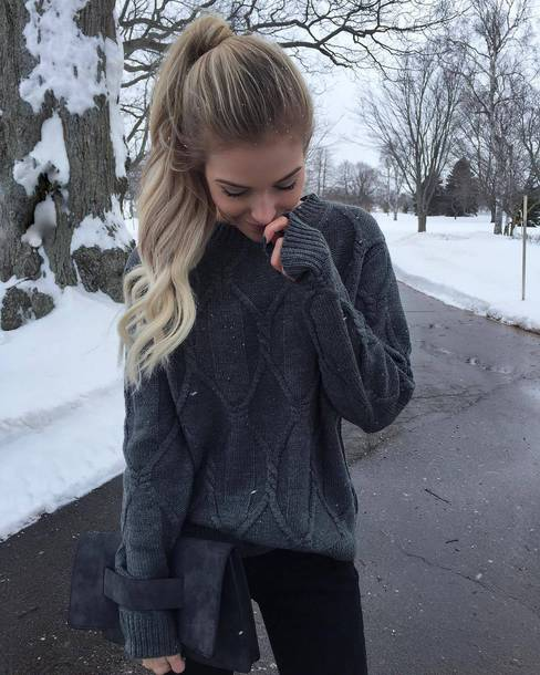 Sweater Tumblr Grey Sweater Grey Cable Knit Sweater Cable Knit