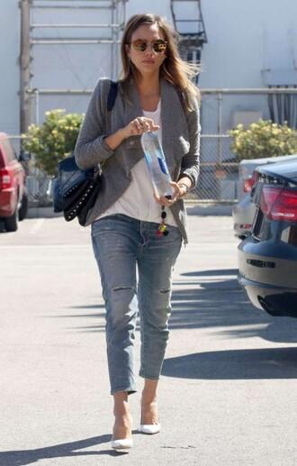 jeans denim boyfriend jeans jessica alba cardigan