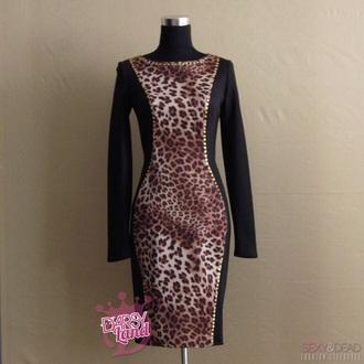 dress animal print long sleeve dress