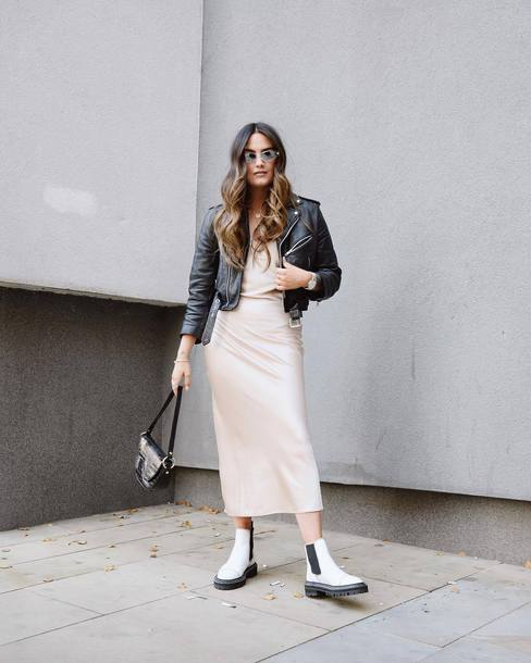 dress slip dress white boots ankle boots black bag handbag black leather jacket