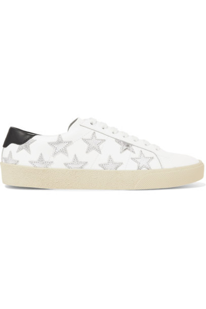 Saint Laurent metallic sneakers leather white shoes