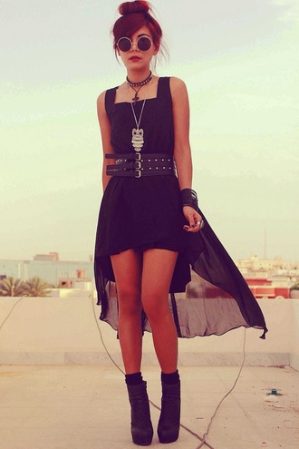 dress black dress chiffon dress gold dress grunge indie high-low dresses belt