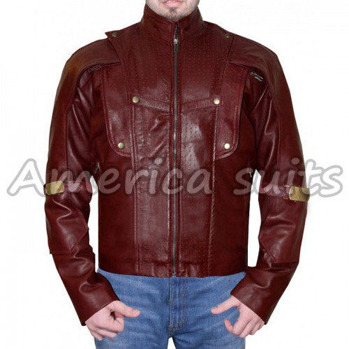 Starlord Guardians of the Galaxy Chris Red Leather Jacket