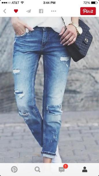 jeans blue skinny jeans ripped jeans boyfriend jeans