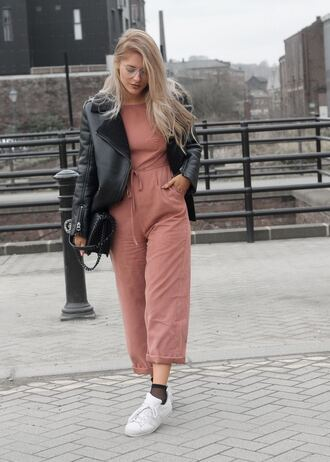 jumpsuit tumblr pink jumpsuit cropped jumpsuit sneakers white sneakers socks fishnet socks jacket black jacket black leather jacket leather jacket bag black bag sunglasses clear lens sunglasses long hair blonde hair