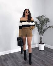 romper,long sleeve romper,knitwear,stripes,off the shoulder,ankle boots,black boots,backpack,sunglasses,earrings